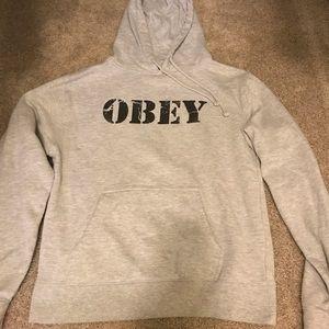 Gray obey hooded sweatshirt